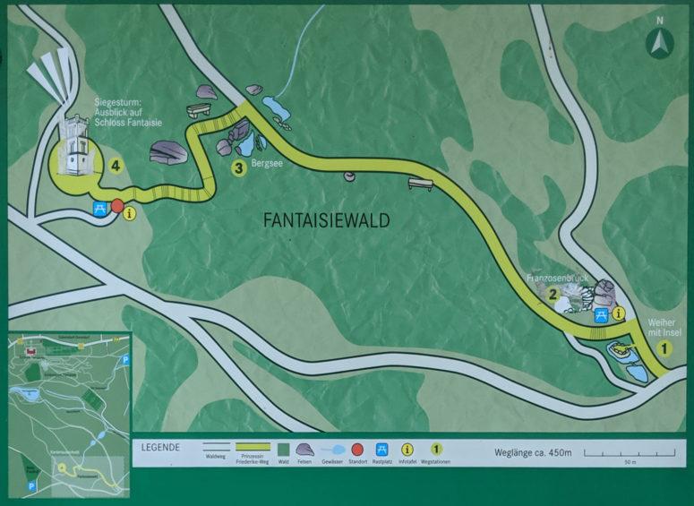 Karte des Friederike-Wegs im Schlosspark Fantaisie